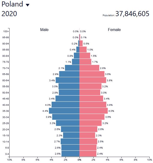 Czy program rodzina 500+ spełnia swoją rolę - piramida ludności polski 2020